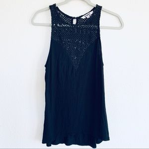 BB Dakota Black Crochet Sleeveless Tank Top